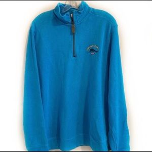 TOMMY BAHAMA Relax Teal Quarter Zip Ribbed Sweater
